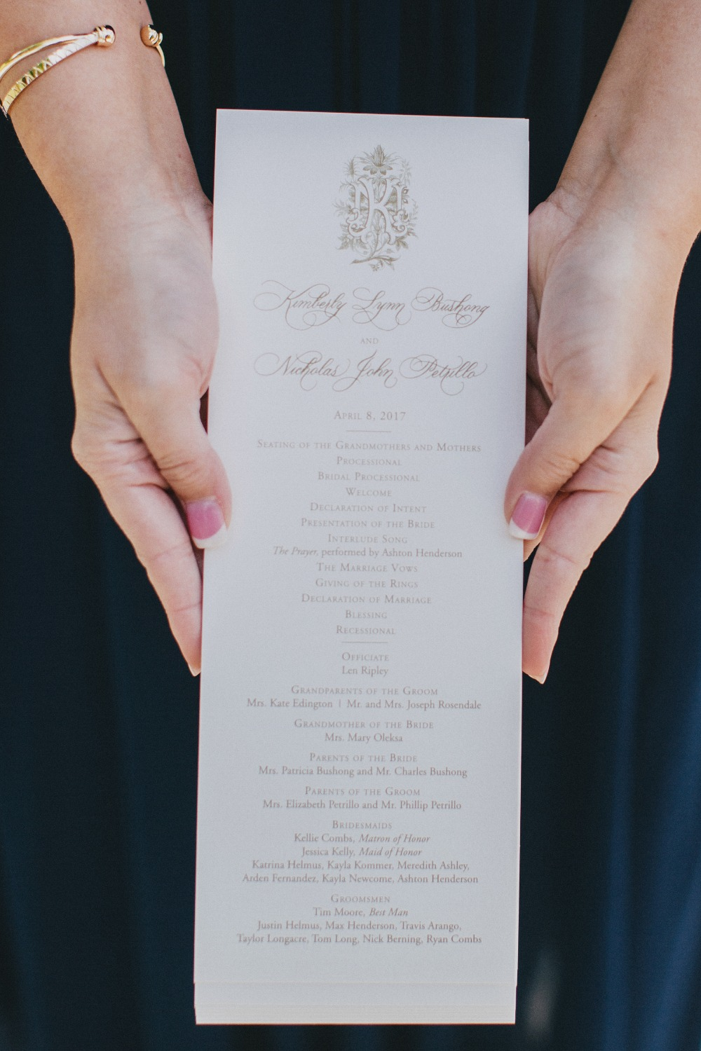 formal wedding program