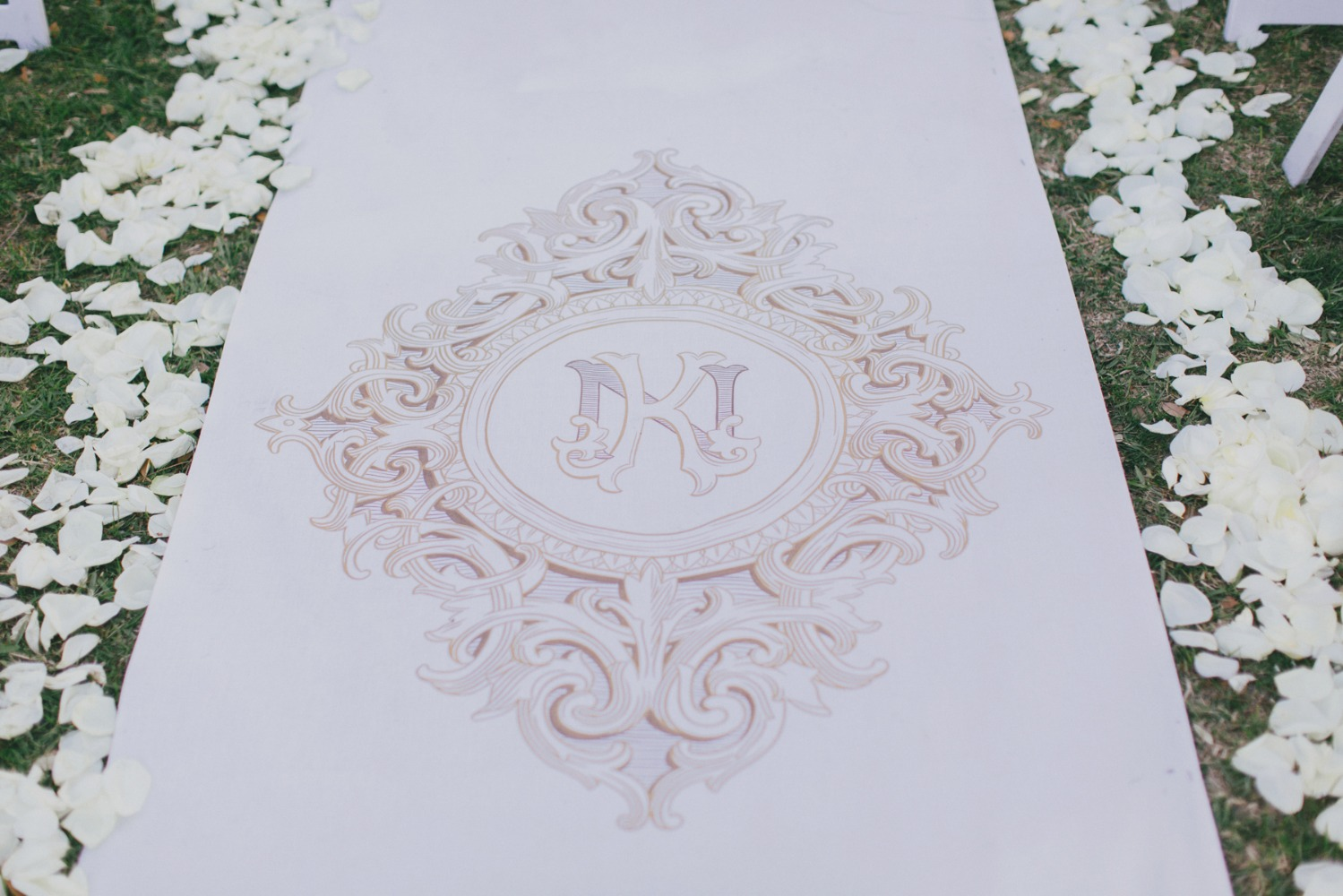 monogramed wedding aisle runner