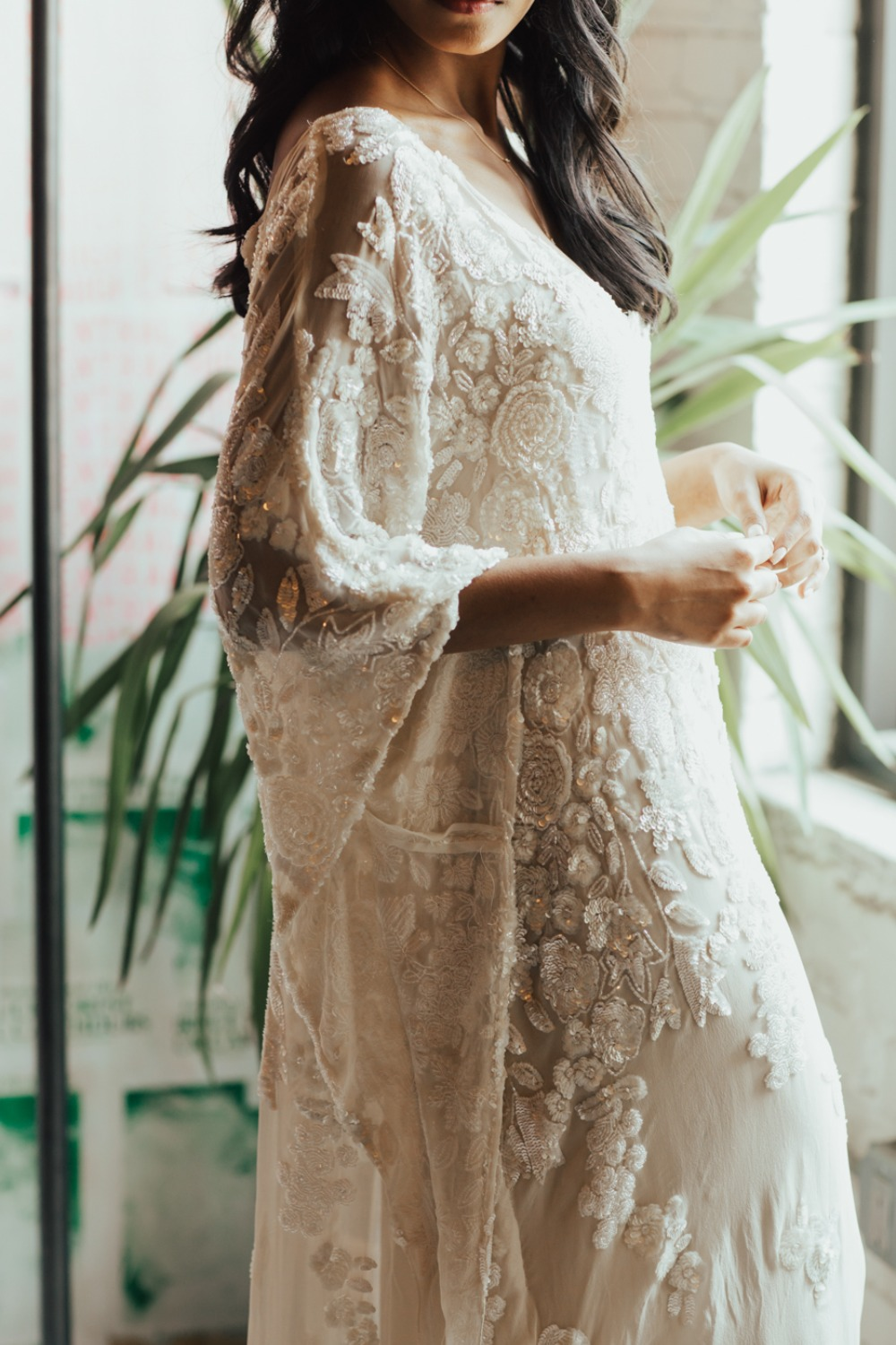 romantic boho inspired wedding dress