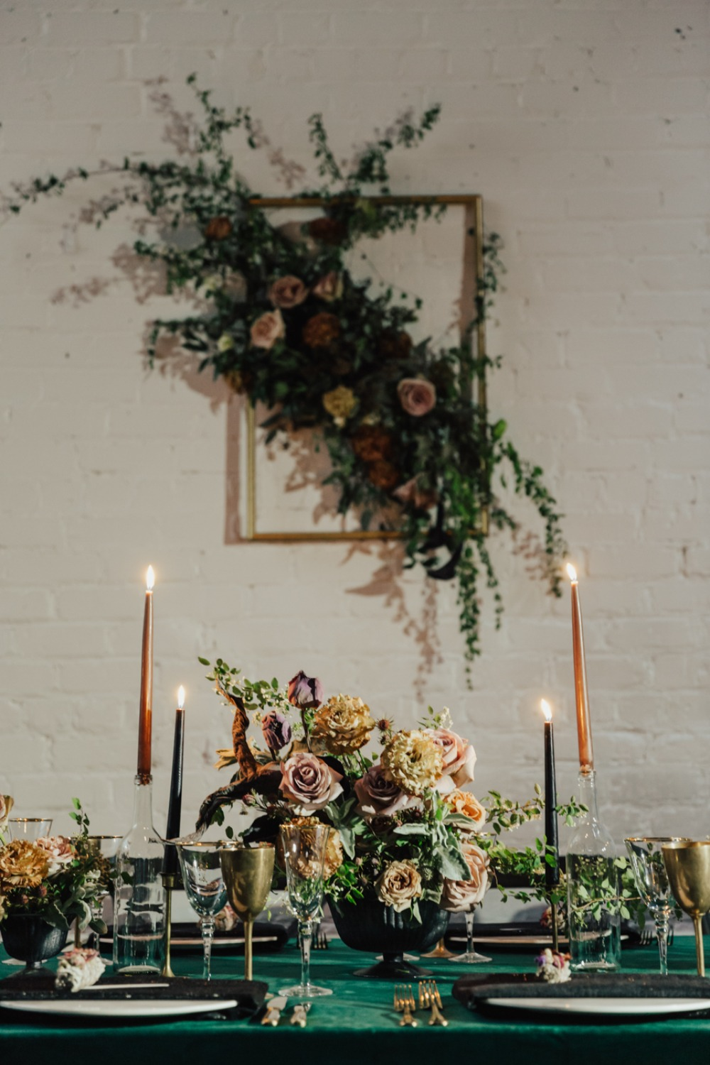 vintage gold and green wedding table decor