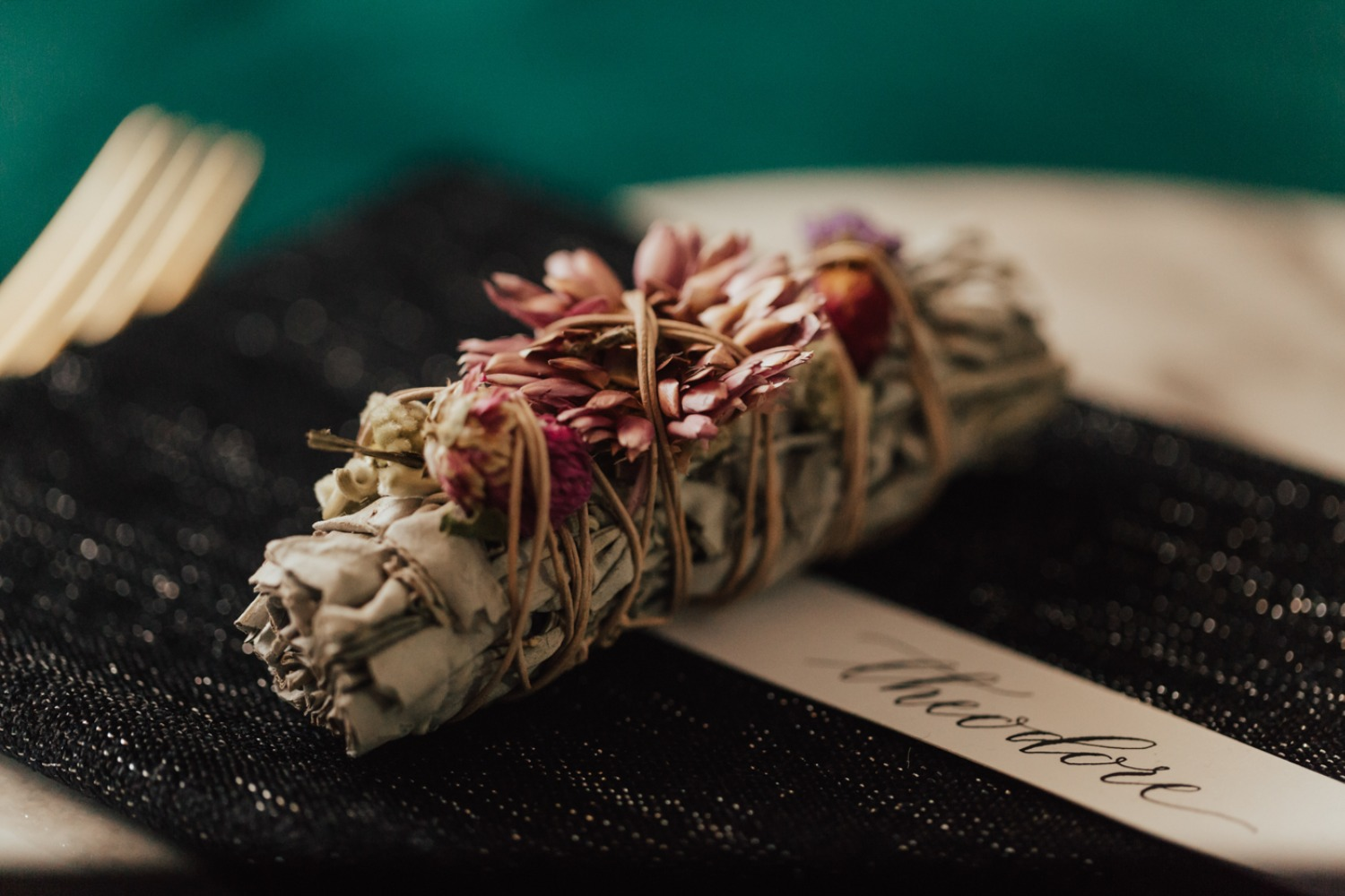 floral smudge stick favor