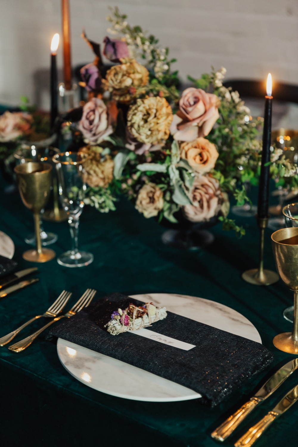 modern vintage wedding place setting in gold and green