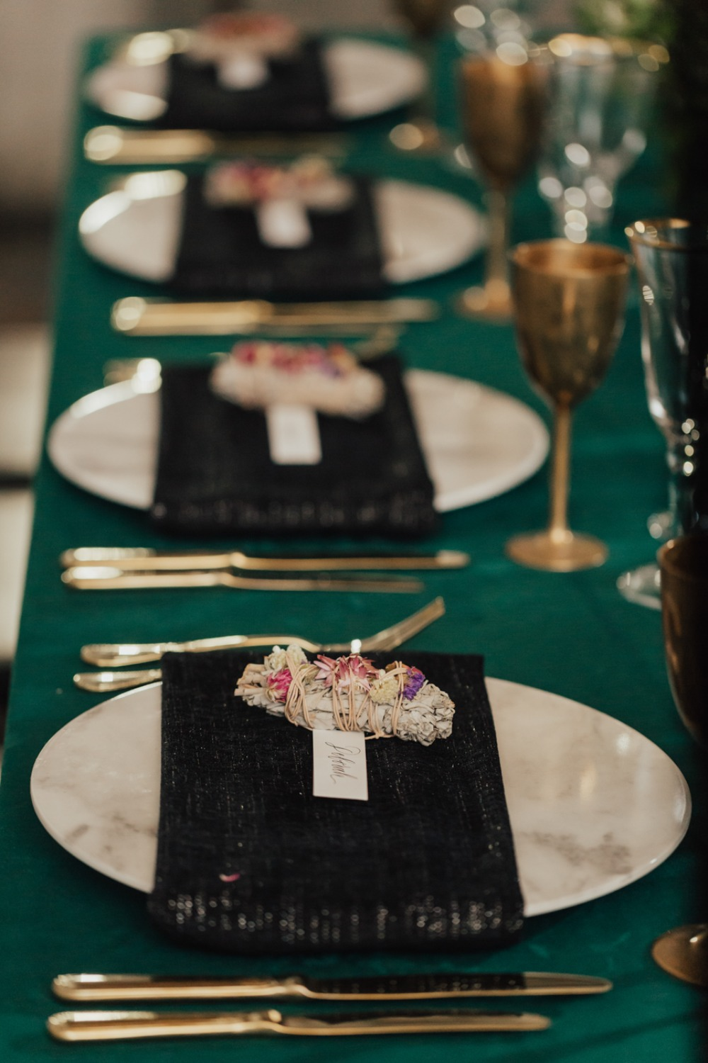 modern emerald green gold and black table setting