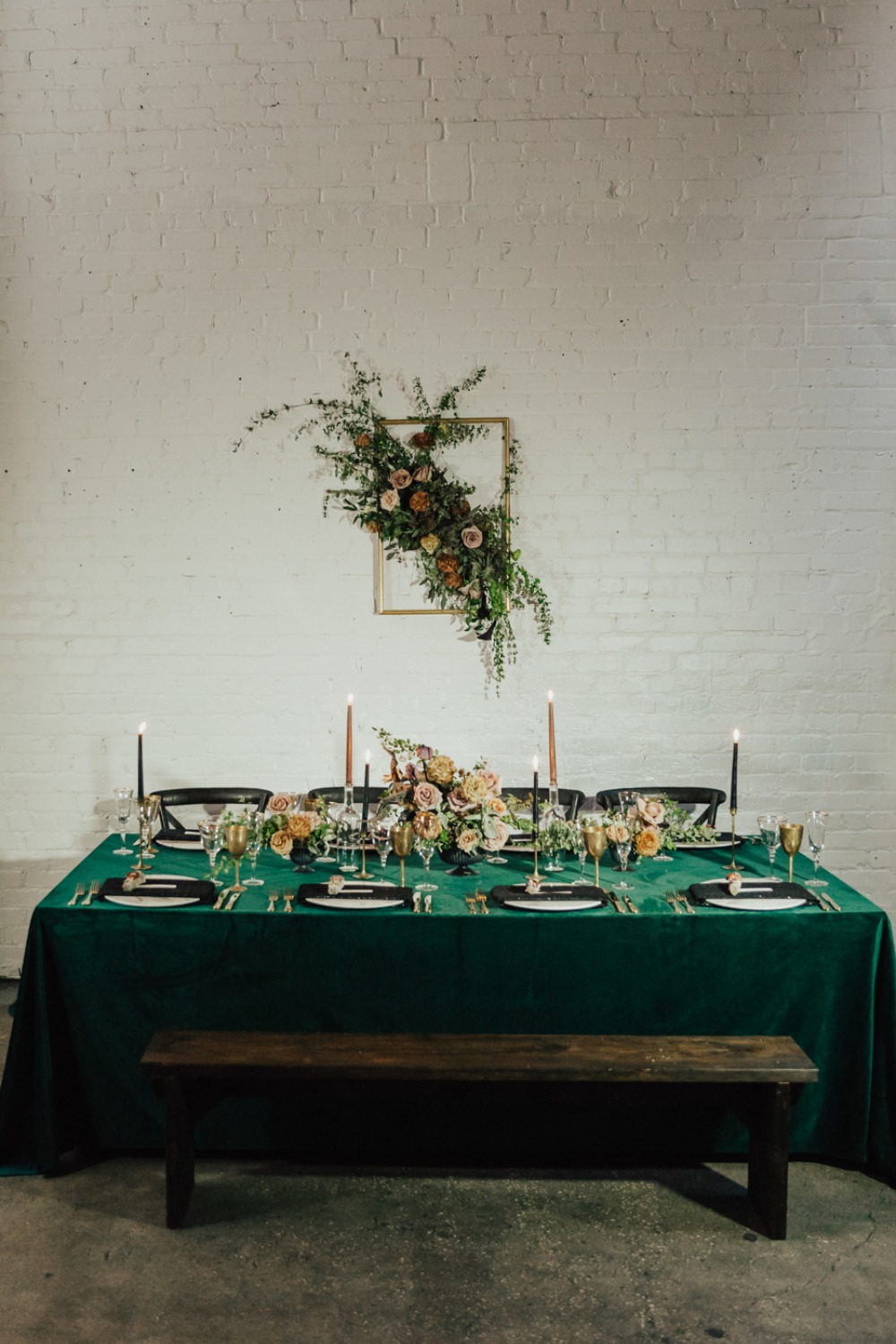 Romantic gold and green wedding table decor