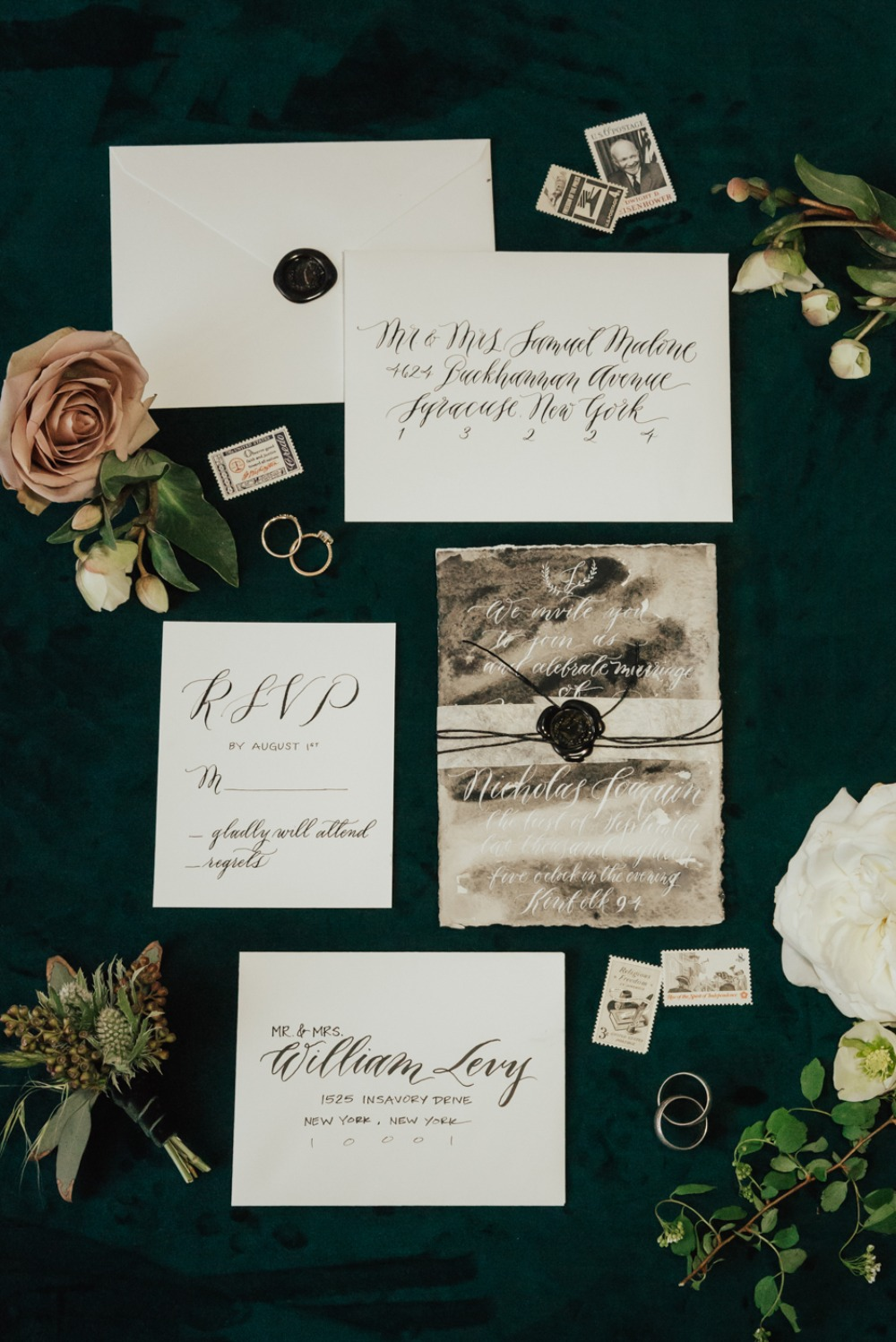 vintage inspired wedding invitation suite