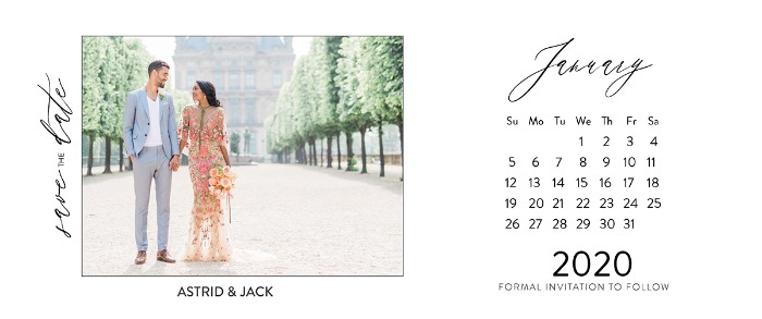 photograph regarding Free Printable Save the Date Templates named Print - 2020 Cost-free Printable Calendar Conserve The Day Playing cards