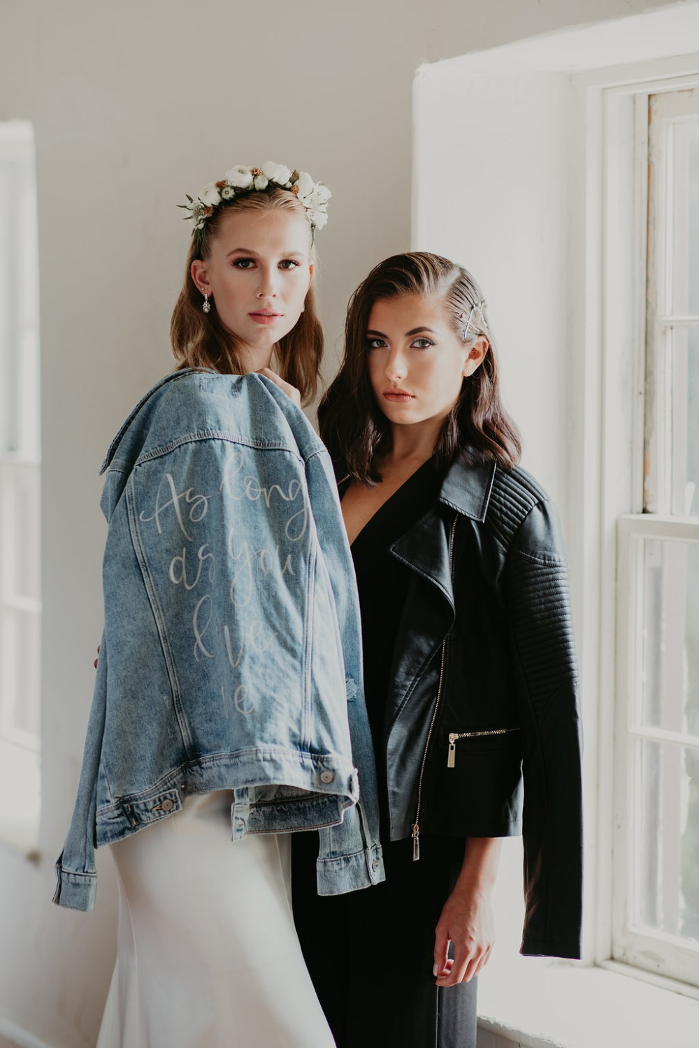 bride and bridesmaid modern style