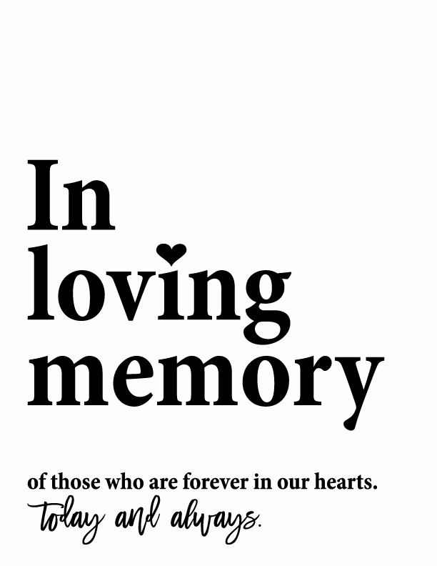 image relating to In Loving Memory Free Printable referred to as Print - Free of charge Wedding day Rembrance Indication