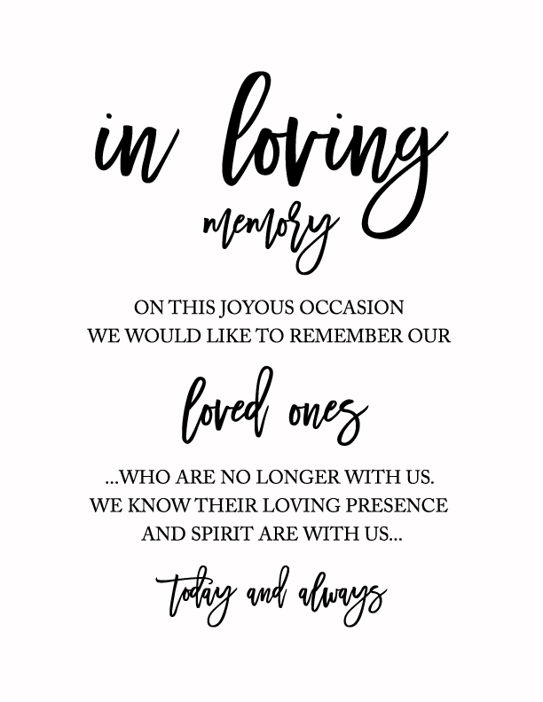 picture regarding In Loving Memory Free Printable titled Print - Free of charge Wedding ceremony Rembrance Indicator- Within Loving Memory