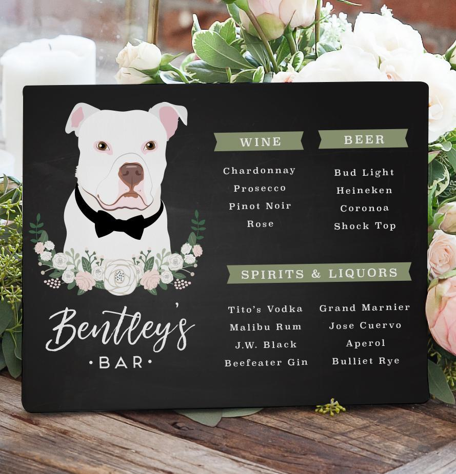 You asked, and we answered!! We now have a Chalkboard Wedding Bar Menu Sign with a Pet Portrait!! If you aren't having signature cocktails