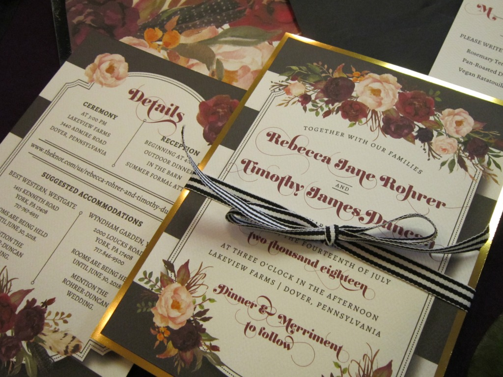 Gold foil, florals, and stripes, oh my! Design exclusively by Persnickety Invitation Studio.
