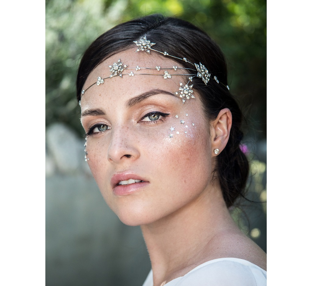 Shine On you crazy diamond! A unique celestial headband of set crystals with 3 lines of shooting stars that fan out from the left side