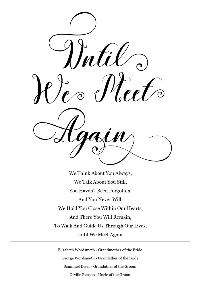 Print: Until We Meet Again Rembrance Sign
