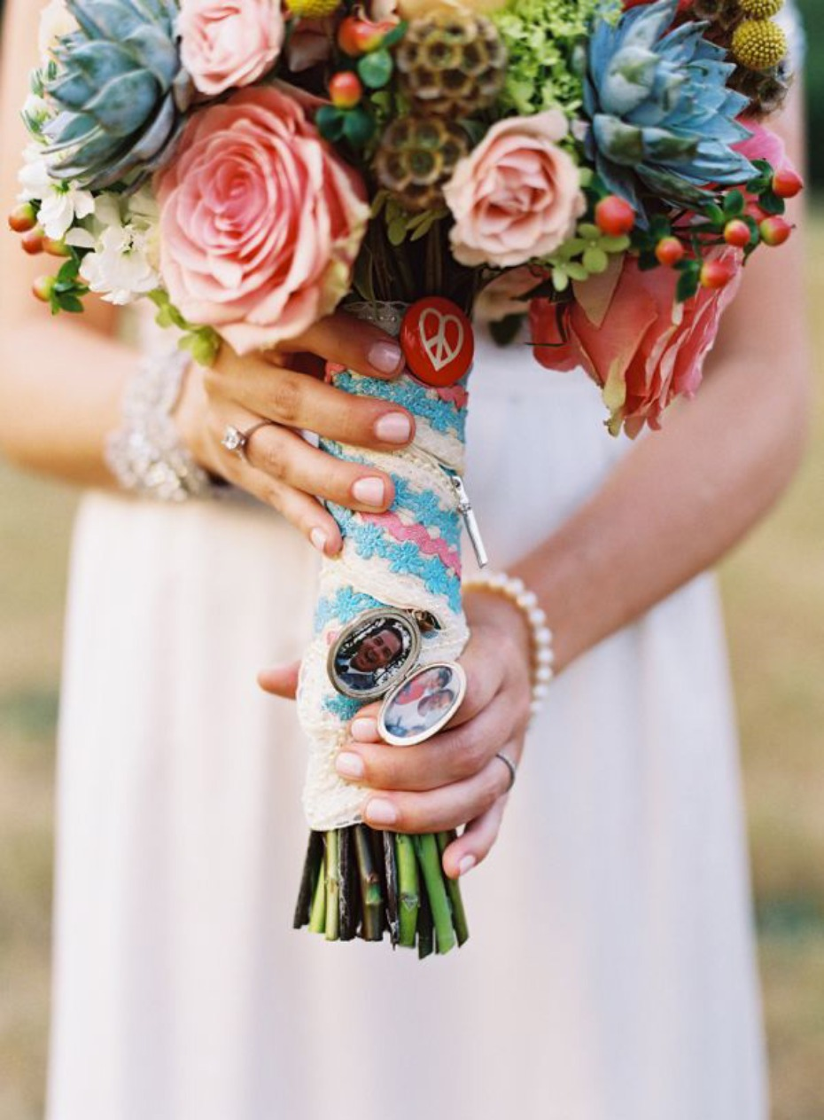 Remembrance wedding bouquet with photo of loved ones that have passed