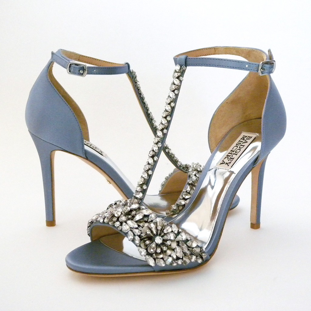 New and Blue! Dazzling wedding sandals that can be worn again after the wedding. Antqiue silver metallic floral design is adorned