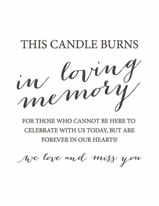 This Candle Burns Wedding Memorial Sign