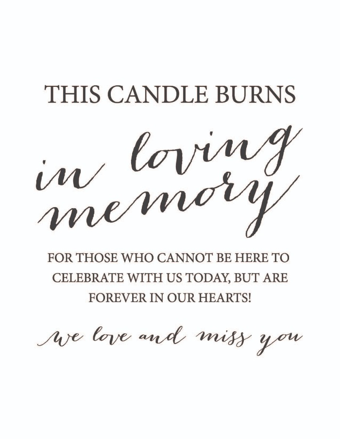 Print: This Candle Burns Wedding Memorial Sign