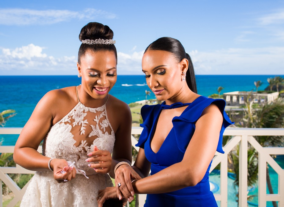 Sonita Alexander Barbados Wedding with Bridesmaid