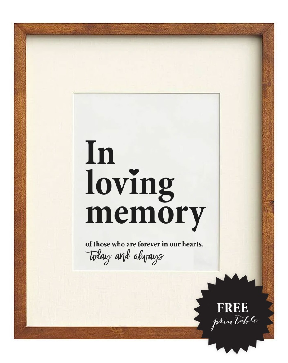 In loving memory Free printable wedding remembrance sign
