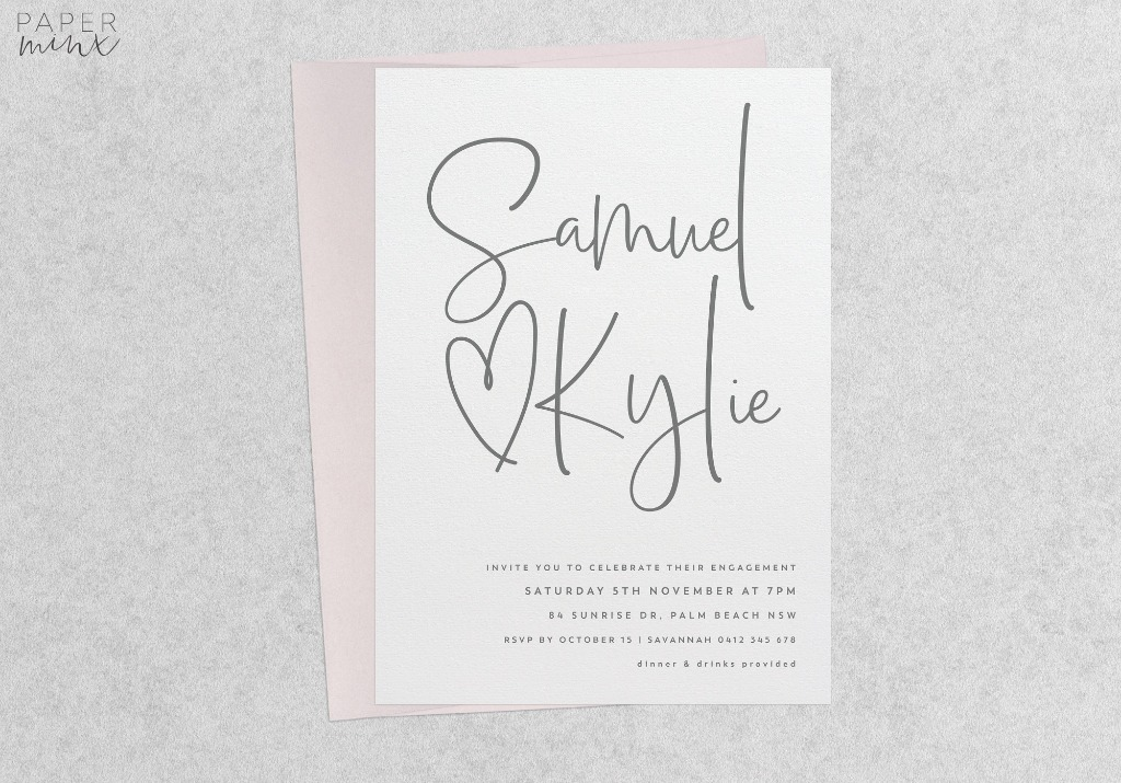Modern Engagement Invitations by Paper Minx Designs on Etsy
