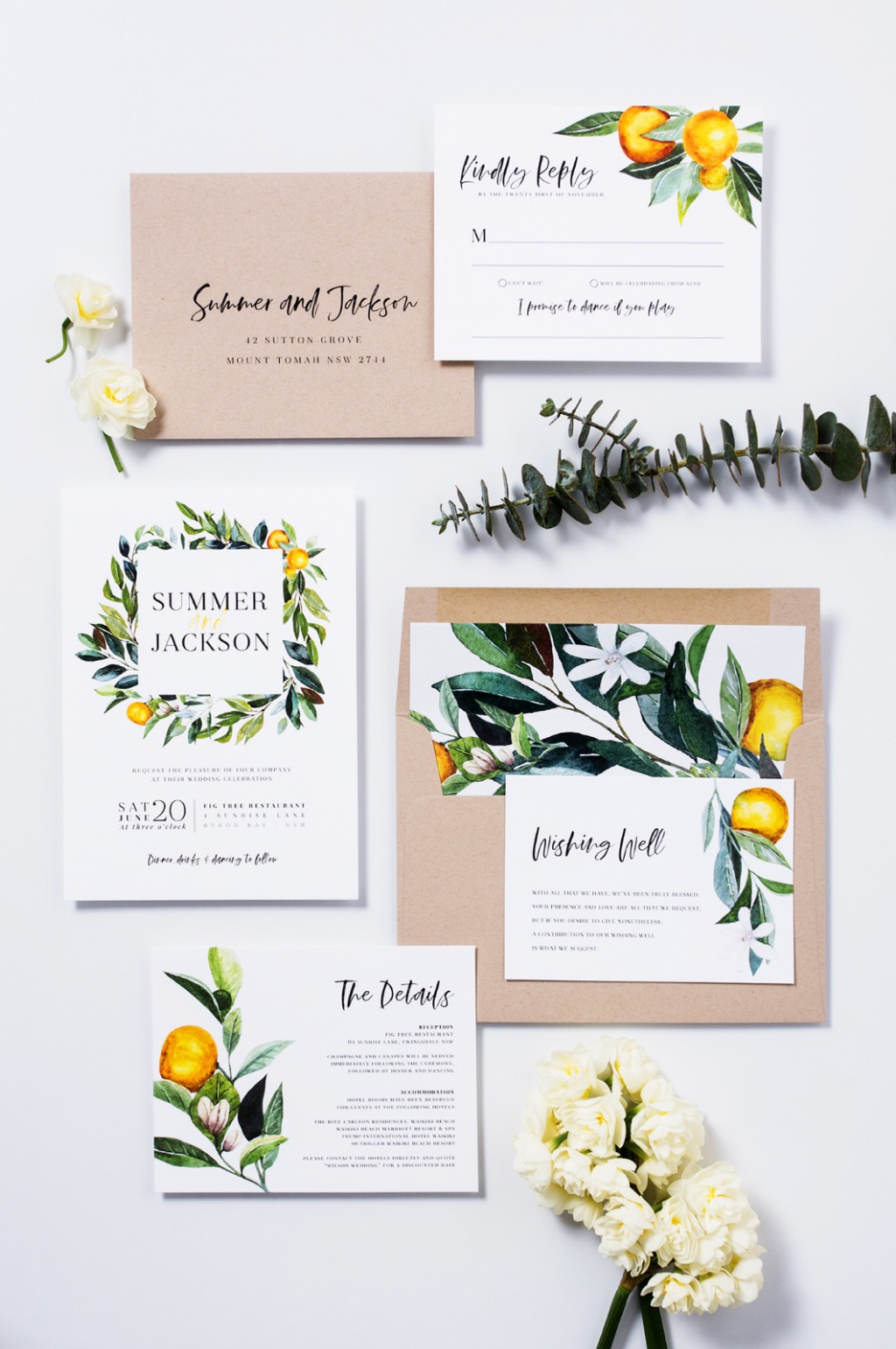 Citrus Wedding Suite | The Summer Suite | Paper Minx Designs