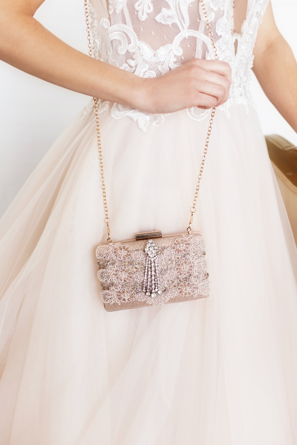 Pretty blush and rhinestone detail bridal clutch