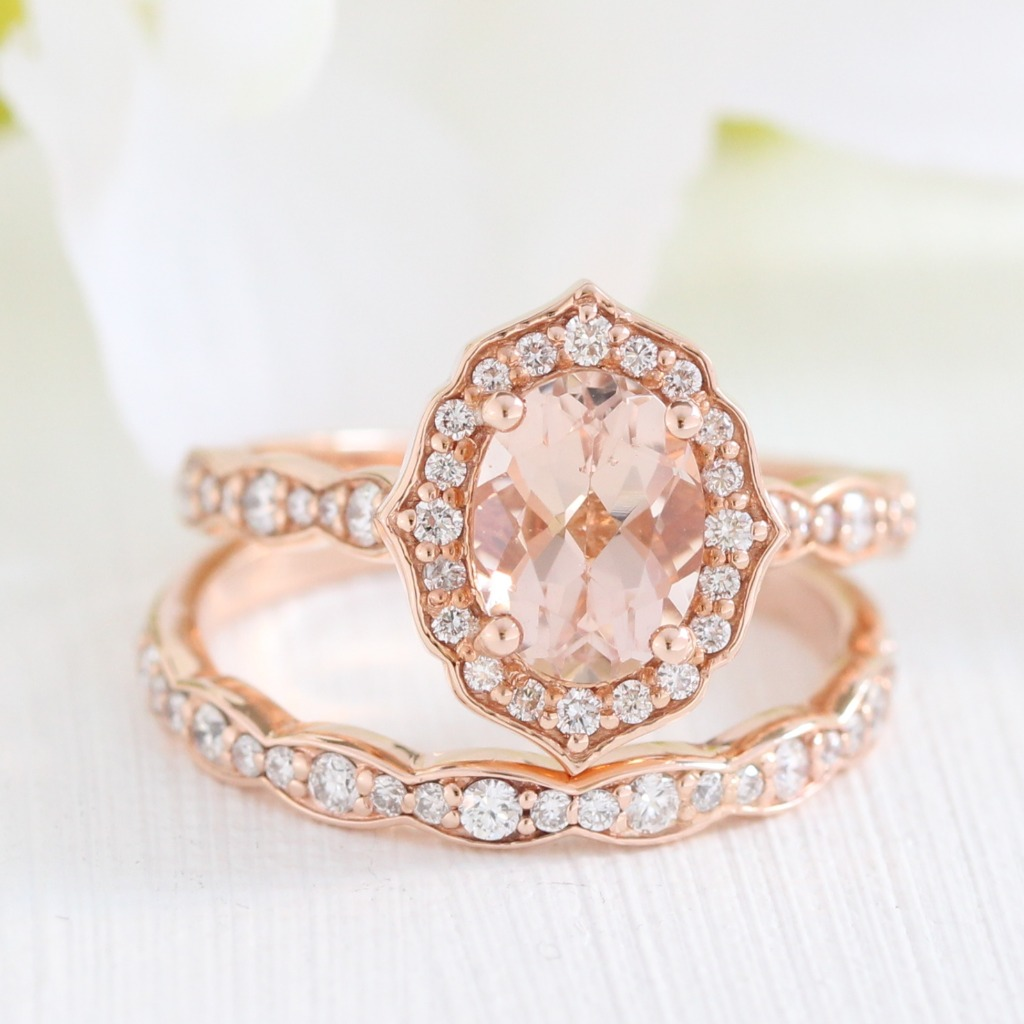 Femme and romantic, she's an Oval Morganite Vintage Floral Bridal Set with Scalloped Diamond Band in Rose Gold. See more of her from