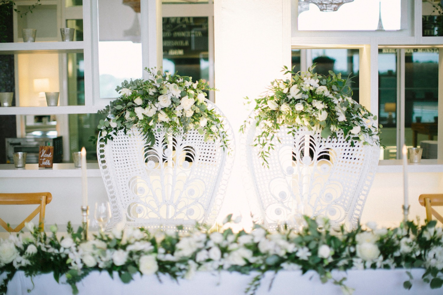 white wicker wedding chairs