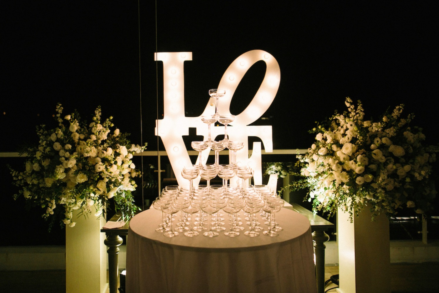 glowing love champagne tower table