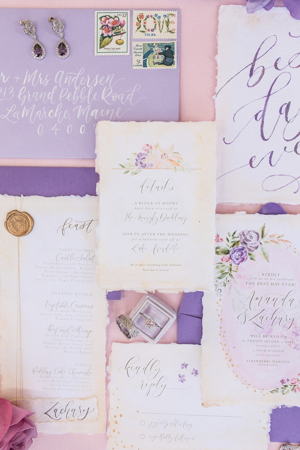 purple floral themed wedding invitation suite
