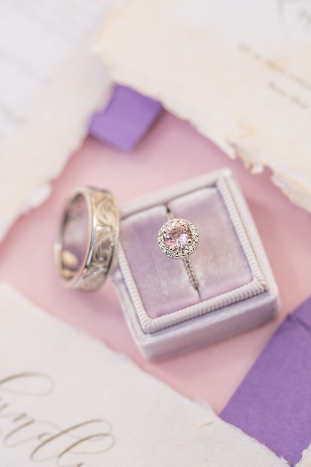 soft pink wedding ring