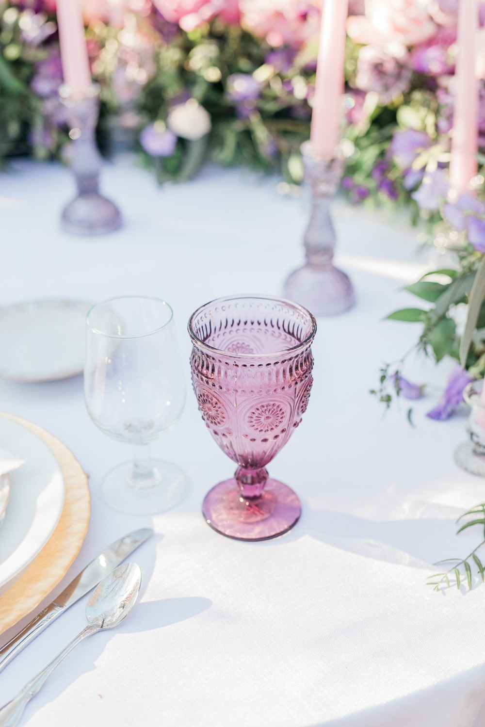glass goblet in pink