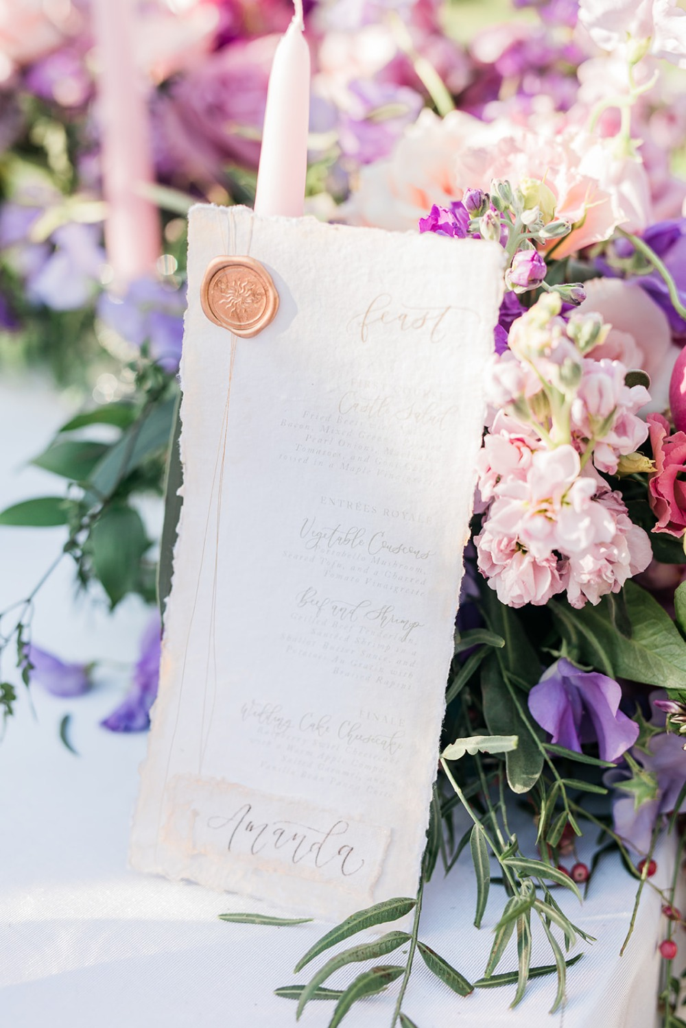 wedding menu with romantic calligraphy