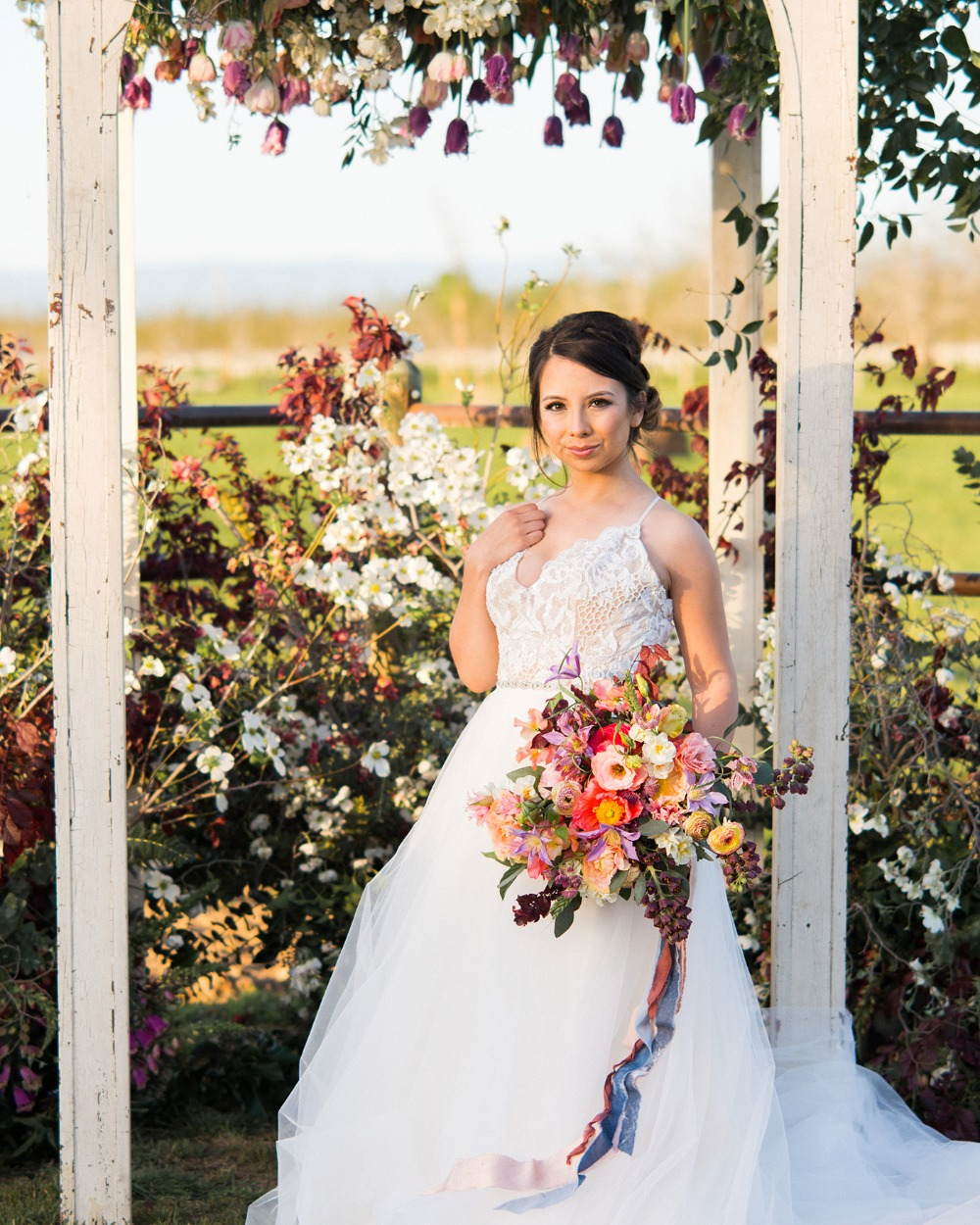 romantic wedding backdrop flower arch