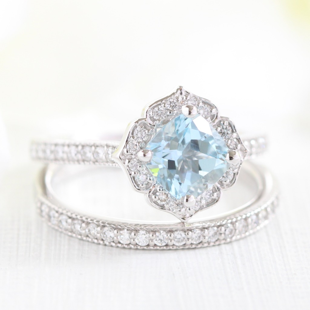 Gorgeous Mini Vintage Floral Aquamarine Bridal Set in Milgrain Diamond Band in White Gold for a classic and heavenly look ~