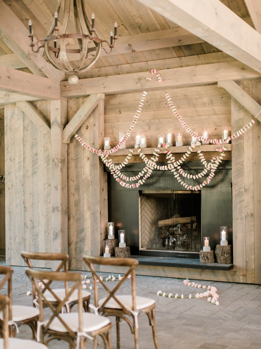sweet symmetrical carnation garland wedding backdrop