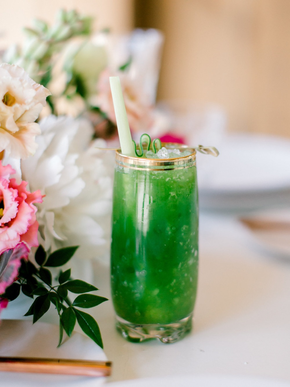 green wedding drink