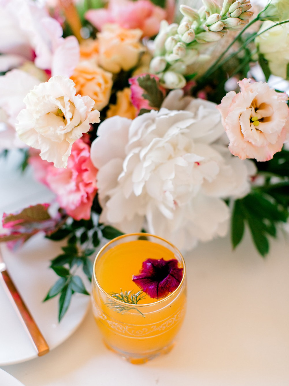 flower topped wedding drink