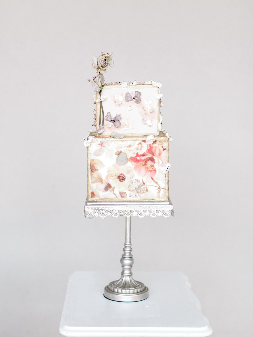 modern square floral wedding cake