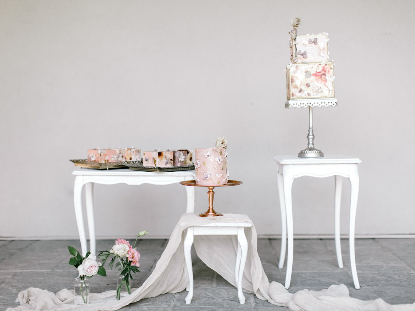 soft blush and modern wedding cake tables
