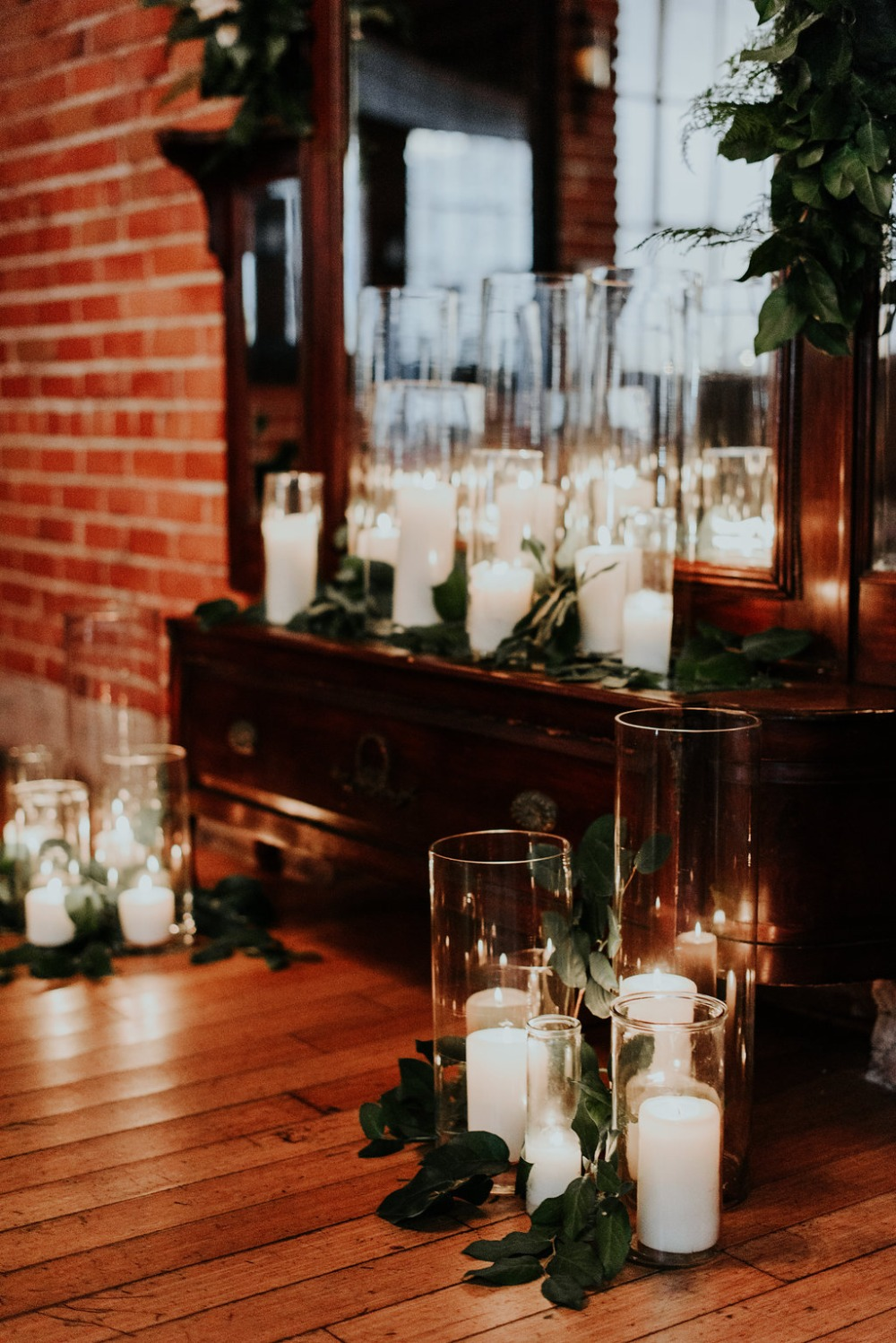 romantic candle wedding ceremony decor