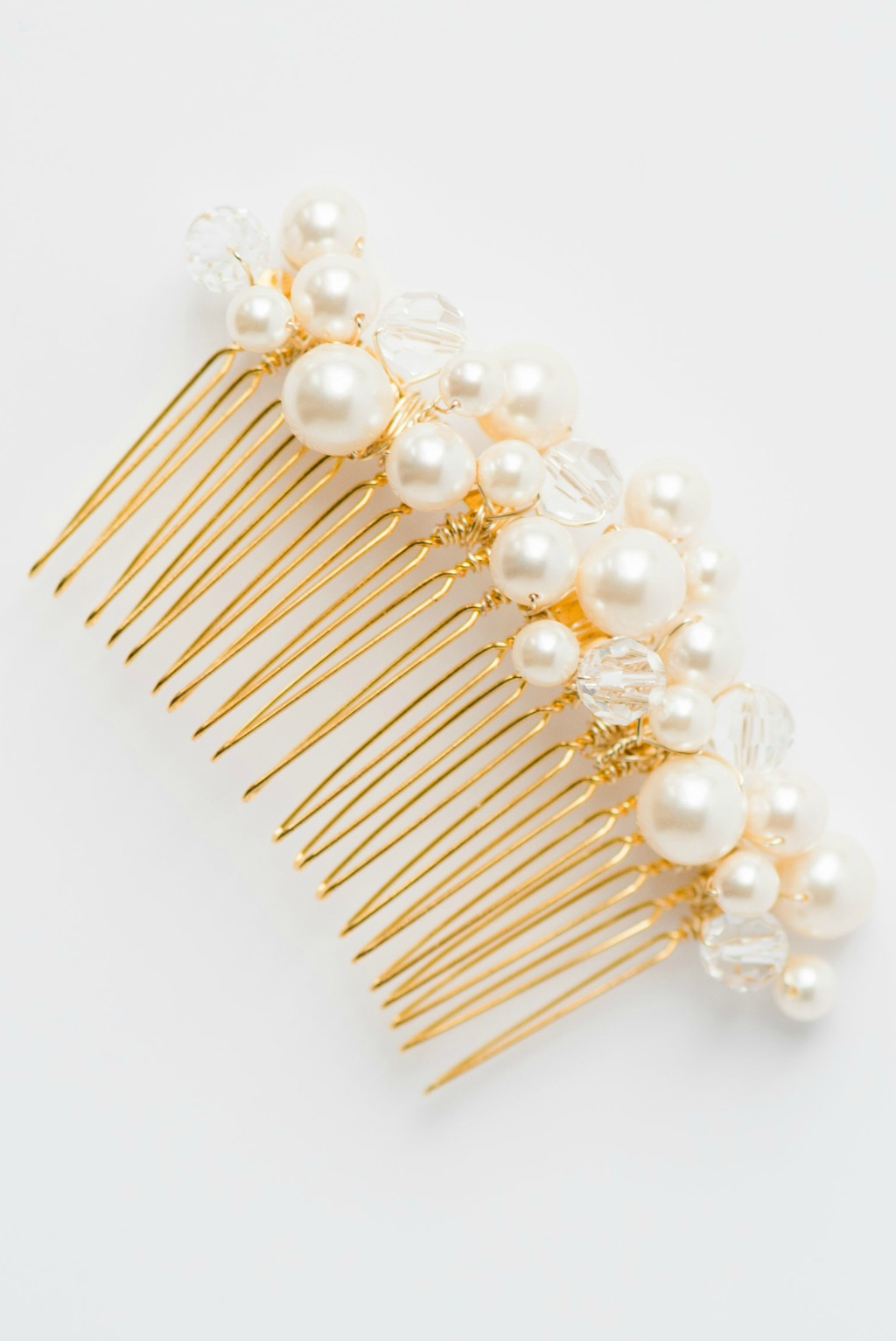 Classic Crystal & Pearl Bridal Comb in Gold by J'Adorn Designs bridal accessories