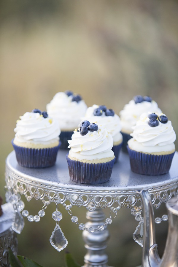 Something Blue with Antique Silver and Chandelier Accents! { Photographer: Rachel Leintz Photography // Bakery: Sweet Simplicity Cupcakes