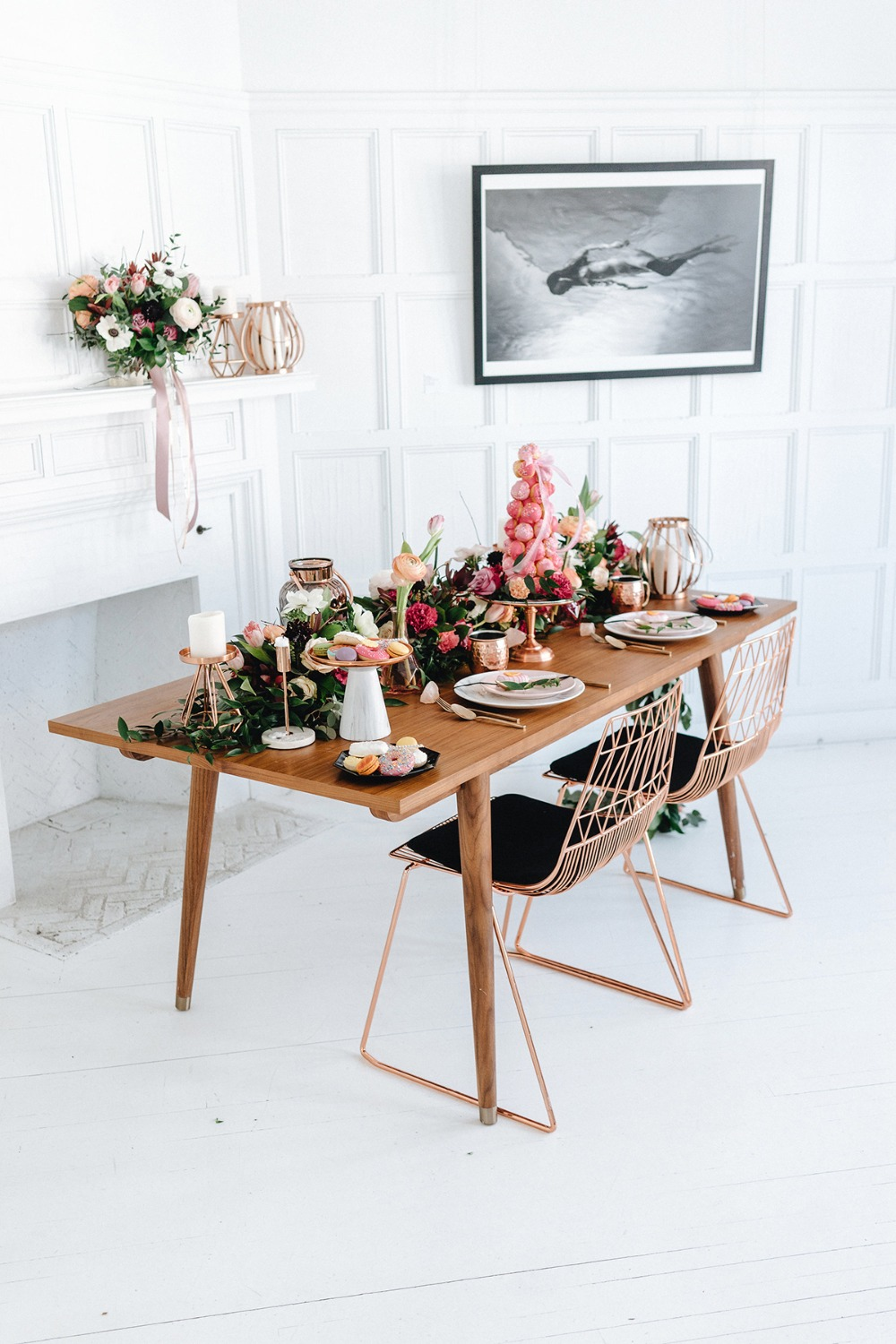 modern copper themed wedding table decor