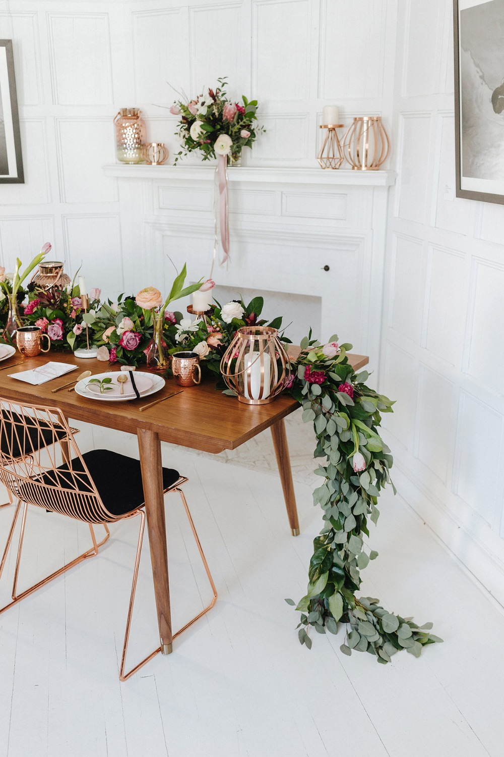 modern copper wedding sweetheart table