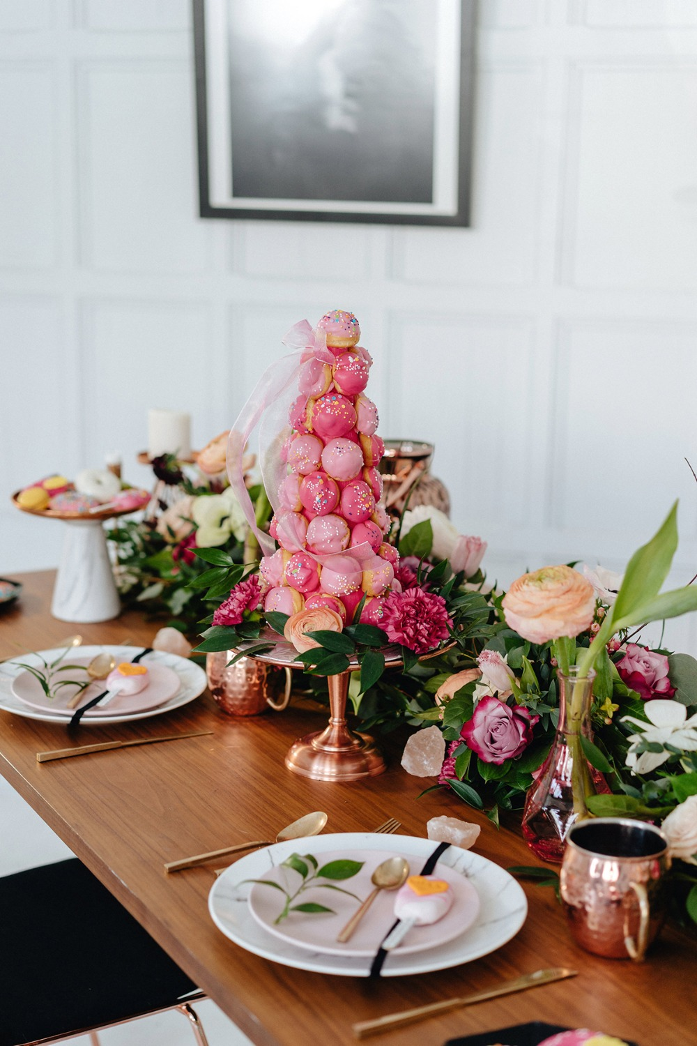 modern copper and pink wedding table decor