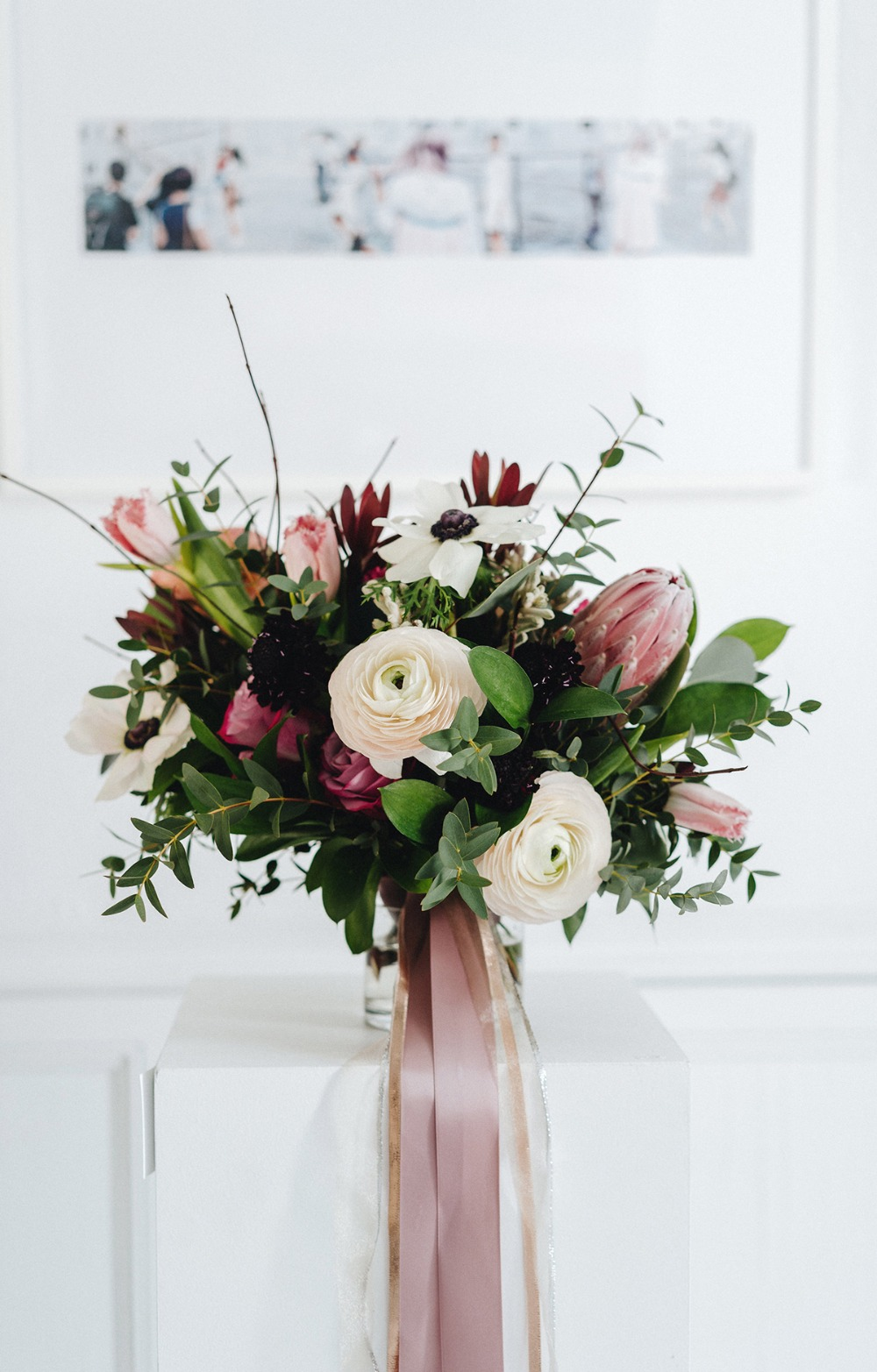 ivory and burgundy wedding bouquet