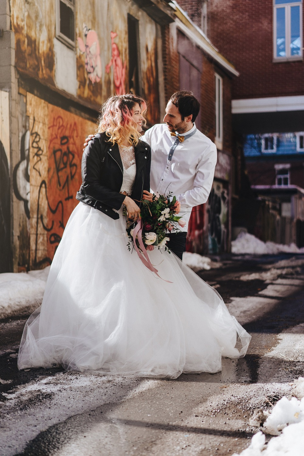 wedding couple on the streets of montreal