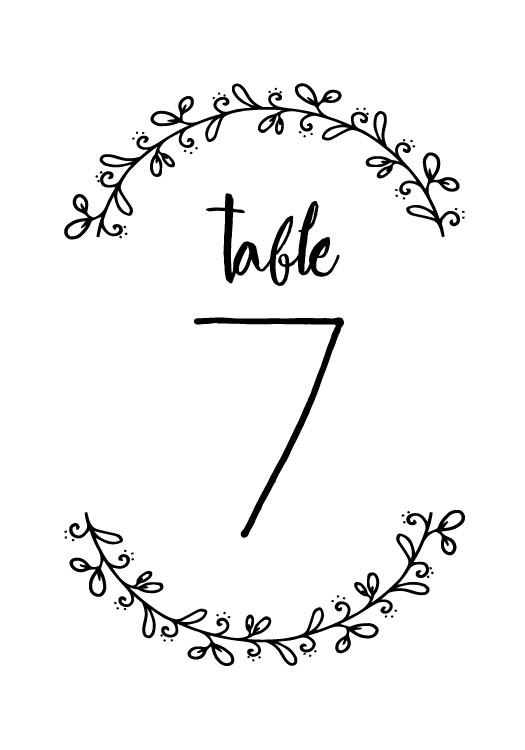 Print: Rustic Wreath Table Number