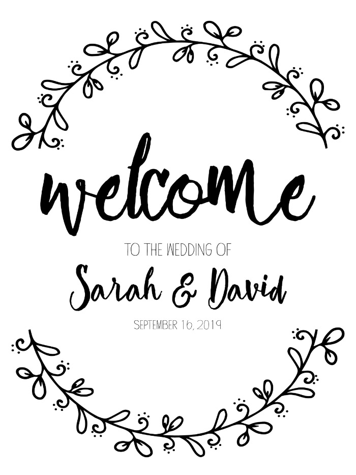 Print: Rustic Wreath Welcome Wedding Sign